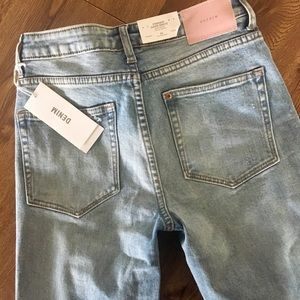 H&M high rise straight light wash distressed jeans